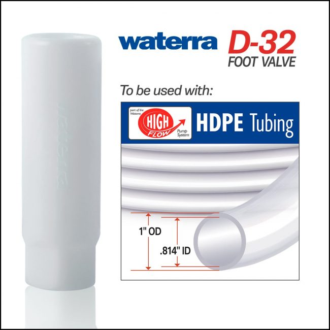 Waterra D-32 Delrin (acetal) Foot Valve with High Flow HDPE and LDPE Tubing. Pump for sampling groundwater