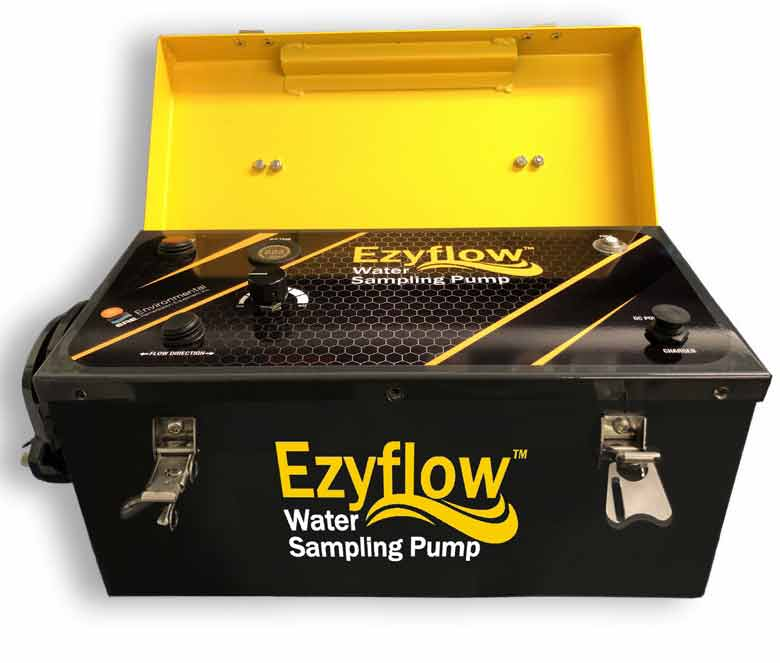 Ezyflow peristaltic groundwater sampling pump -front view - lid open carried by Waterra