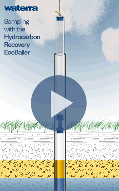 Eco Bailer hydrocarbon recovery animation carried by Waterra