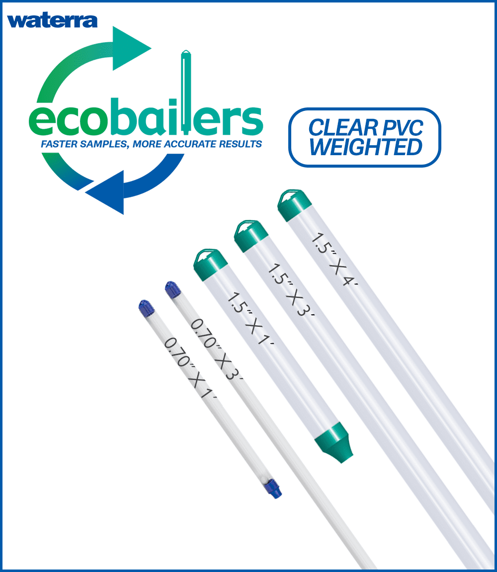 eco Bailer groundwater sampling - clear PVC weighted bailers carried by Waterra